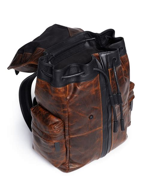 S Leather Backpack Brown wang marti distressed leather backpack in