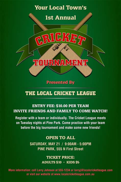 blank certificates for printing cricket tournament poster