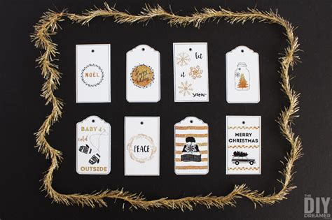 wishing   white christmas printable gift tags black  gold