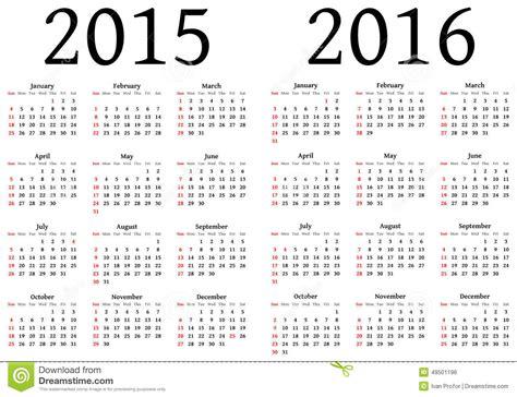 Calendario N 2015 Calendario Para 2015 Y 2016 Ilustraci 243 N Vector