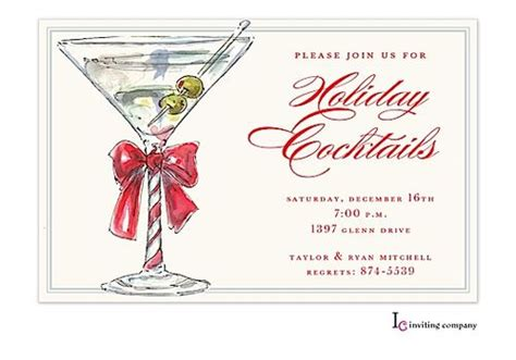 christmas cocktail party invitations martini christmas