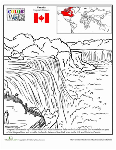 coloring page of niagara falls color the world niagara falls coloring page education com