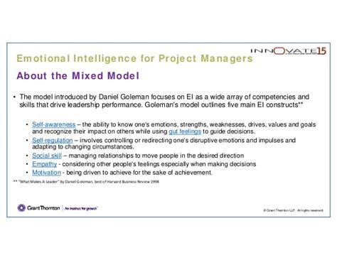 Mba Project Report On Emotional Intelligence by Pm 201 Emotional Intelligence For Project Managers