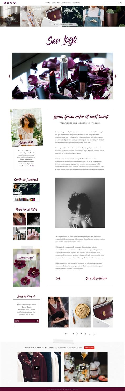 layout blog moda ametista design para blog de moda beleza e lifestyle