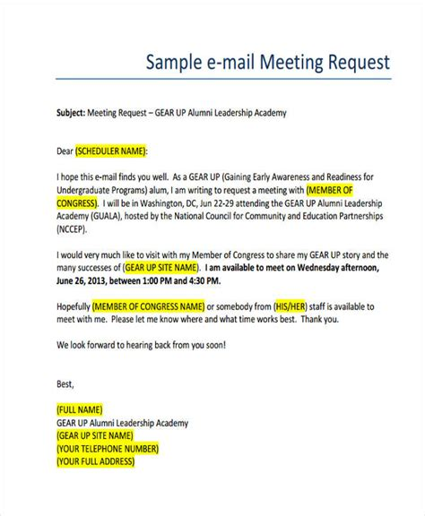 how to write meeting request email sle cover letter