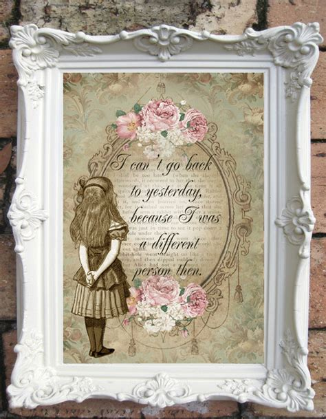 alice in wonderland quote art print shabby chic decor vintage style alice wall