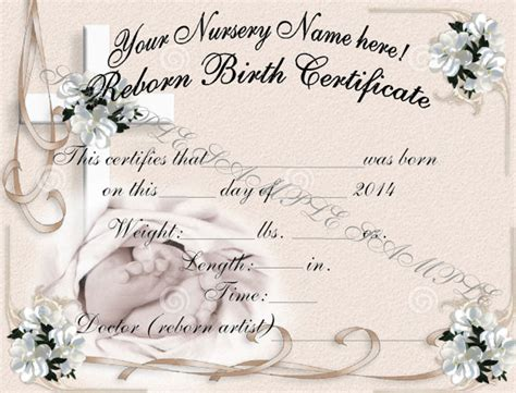 reborn birth certificate template free reborn birth certificates your custom nursery name 5