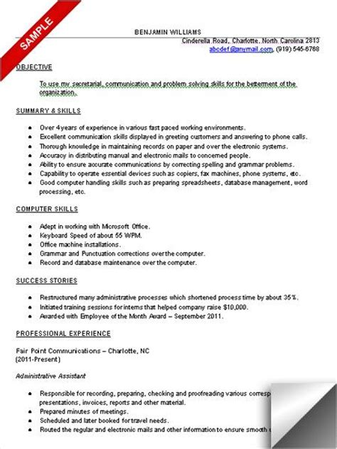 administrative assistant resume template free 10 administrative