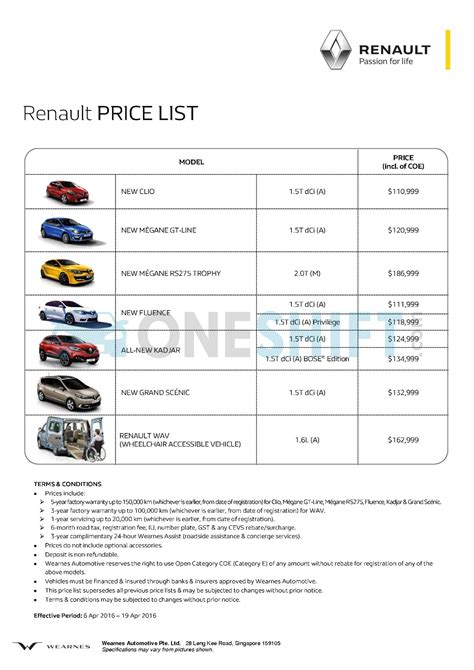 cars price list renault singapore printed car price list oneshift