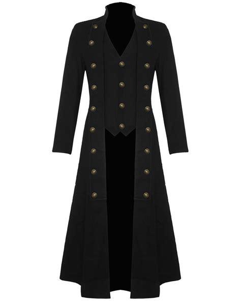 Black Coat mens steunk trench coat jacket black