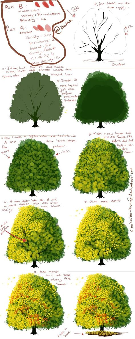 paint tool sai tree tutorial 53 best how to draw realistic trees plants bushes and