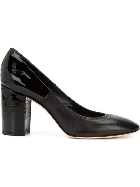 Pumps In Black casadei chunky heel leather pumps in black lyst