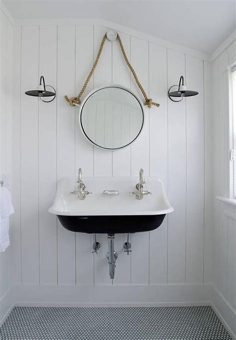 Black And White Bathroom Wall by Black And White Cottage Bathroom Features Walls Clad In