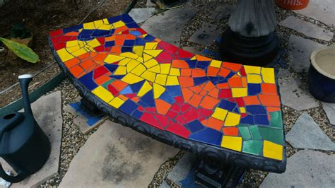 mosaic benches glass or ceramic tile for mosaic patio table how to mosaic