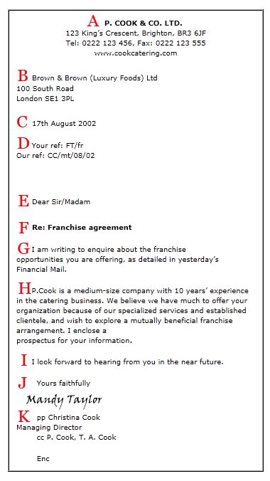 Business Letter Format With Re Business Letter Format Macmillan Dictionary
