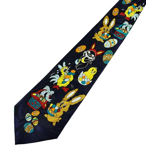 easter tie easter bunny eggs navy blue novelty tie from ties