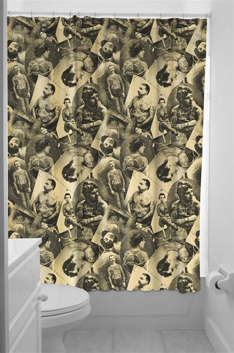 sourpuss shower curtain sourpuss shower curtain tattooed old timers
