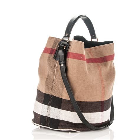 Burberry Check Canvas Hobo by Burberry Canvas Check Medium Ashby Hobo Black 180022