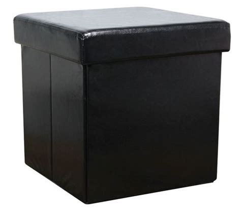 leather ottoman storage box black colour leather fold flat ottoman storage box