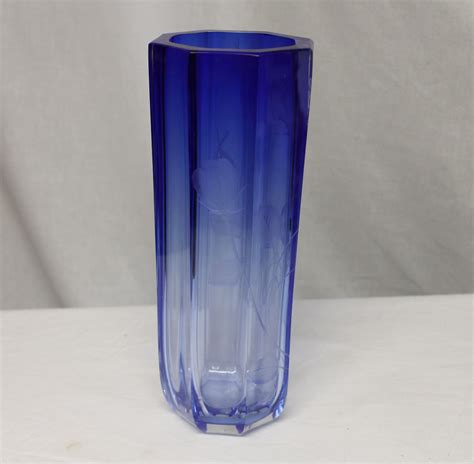 Octagonal Vase by Bargain S Antiques 187 Archive Moser Signed Blue