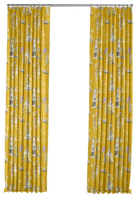 asian curtain purple and yellow chinoiserie pleated curtain single