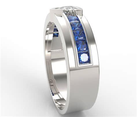 unique mens trillion cut diamond wedding band white