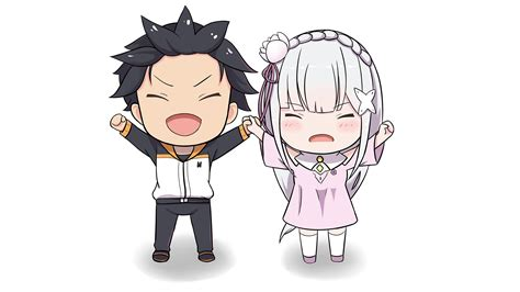 subaru and emilia wallpaper re zero starting life in another world full hd wallpaper