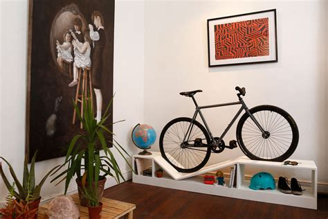 living room bike rack furniture doubles as bike racks to save space in tiny apartments