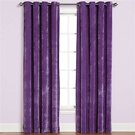 purple grommet curtains buy plush grommet top 84 inch window curtain panel in