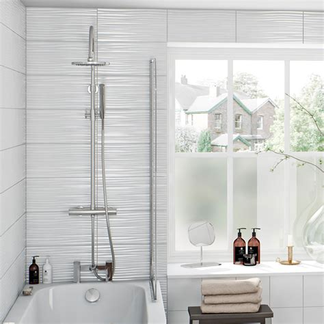 Bathroom Tile For Sale by Pure White Wave Gloss Tile 248mm X 498mm Victoriaplum Com