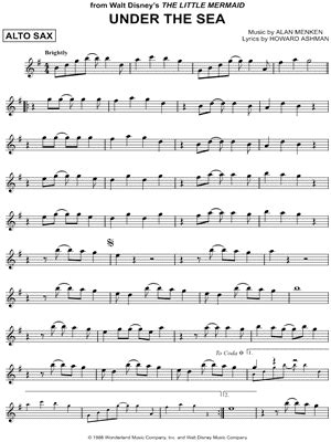 """""""Under the Sea"""" from 'The Little Mermaid' Sheet Music (Alto Saxophone Solo)   Download & Print"""