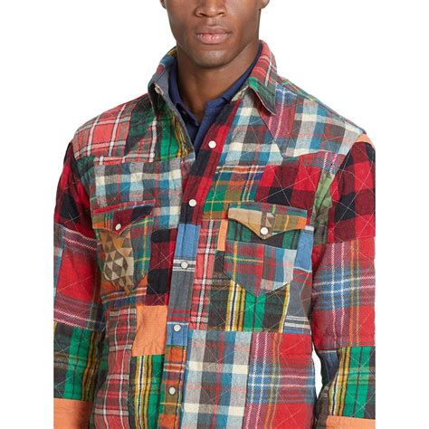Ralph Patchwork - polo ralph patchwork western shirt for lyst