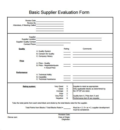 supplier form template sle supplier evaluation 7 documents in pdf word