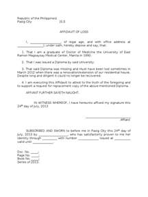 Certification Letter Of Lost Sample Affidavit Of Loss Of A Diploma