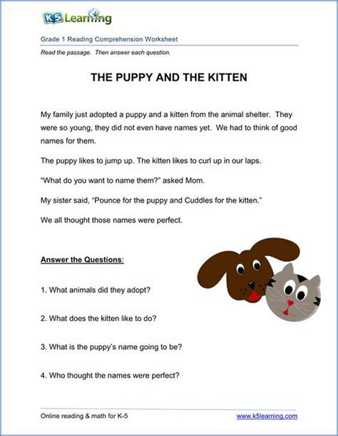 K5 Worksheets by Free Printable Grade Reading Comprehension