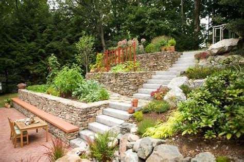 edible terraced garden with r and seat wall