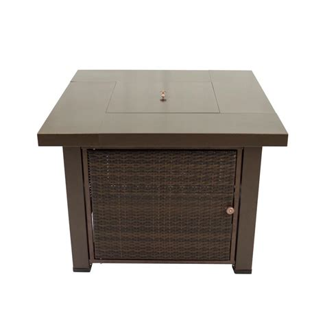 hammered bronze table l pleasant hearth rio 38 in square wicker and steel gas