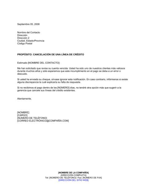carta de cancelacion laboral cancelaci 243 n de la l 237 nea de cr 233 dito modelos y ejemplo biztree