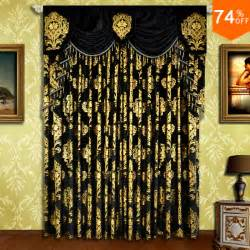 Bedroom Curtain Rods Decorating Black Small Fur Surface Embroid Black Golden Flowers Curtains Rod Stick Curtain Classic Design
