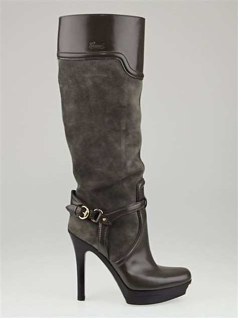 gucci grey leather and suede platform knee high boots size