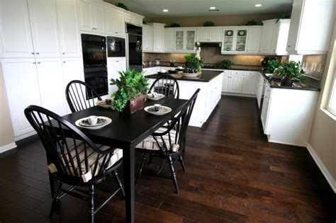 Dining Table In White Kitchen 35 Striking White Kitchens With Wood Floors Pictures