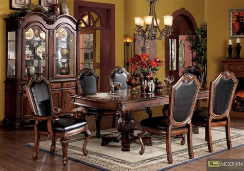 High Chair Dining Room Set 7 Pc High End Cherry Finish Dining Room Set Table And Chairs Zac04075