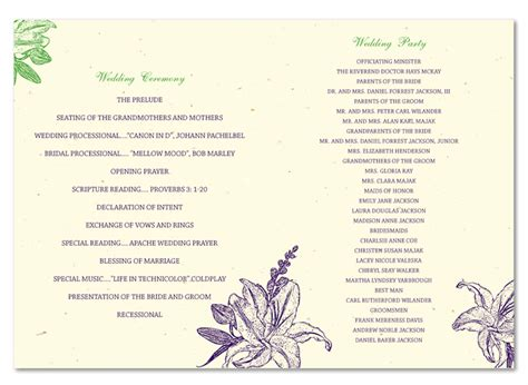 Recycled Wedding Programs On Recycled Paper Amour De Calla Foldover By Foreverfiances Free Calla Wedding Program Templates