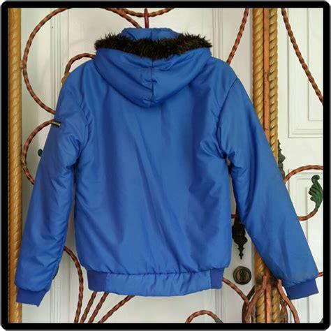 jual jaket parasut biru second preloved bekas