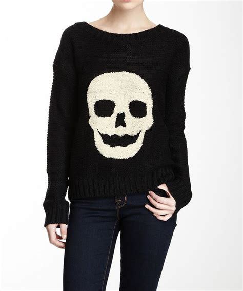 Sweater Black Skull black white skull embroidered knit pullover sweater my style sleeve