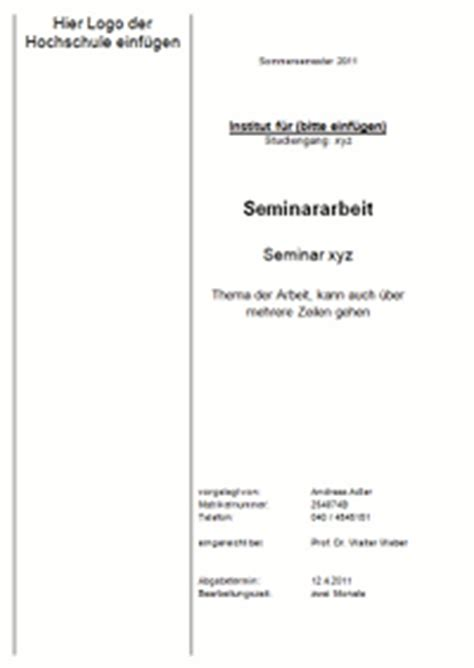 Vorlage Word Hausarbeit Jura Das Deckblatt Einer Seminararbeit