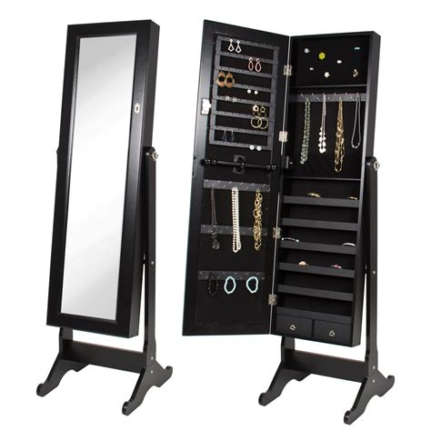 standing jewelry armoire with mirror black mirrored jewelry armoire with stand mirror jet com