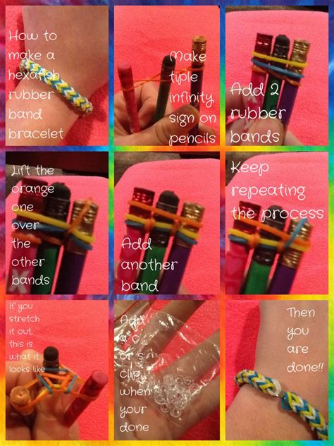 easy tutorial    hexafish rubber band bracelet     pencils