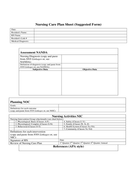 nursing care plan template free nursing care plan form free
