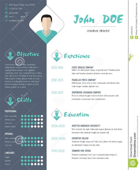 Sample Resume Marketing Executive by Modern Curriculum Vitae Resume With Photo Stock Vector